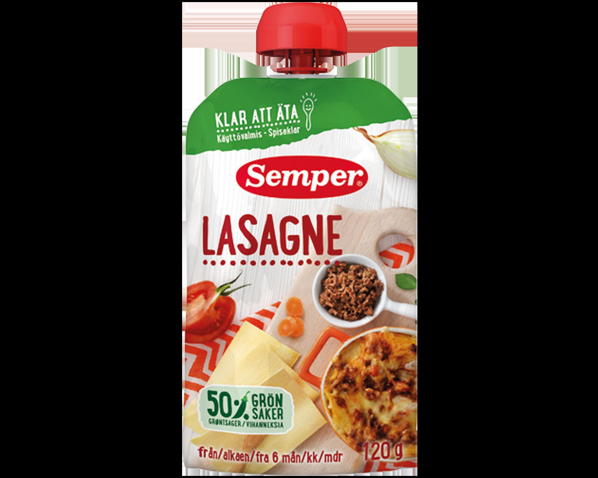 Semper spiseklar babymad m. lasagne Ammenam