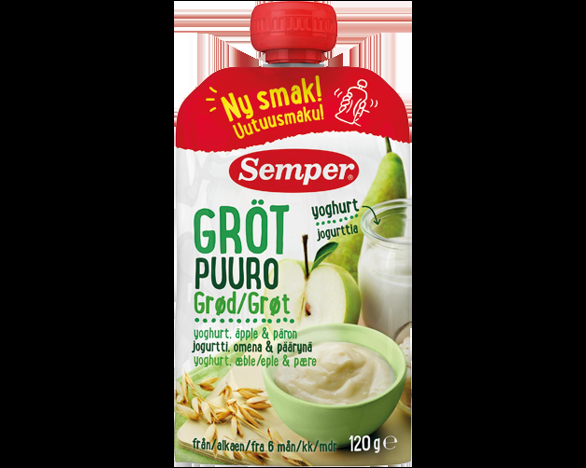 Semper spiseklar grød med yoghurt, æble & pære - ammenam