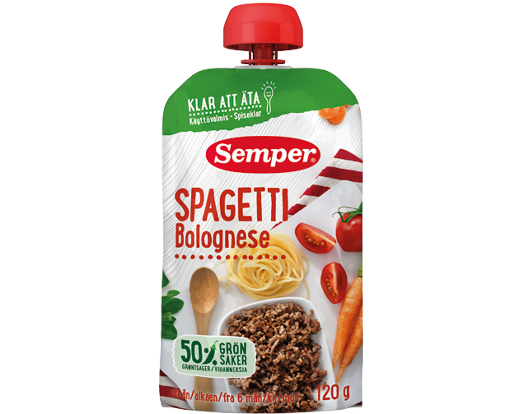 Spiseklar babymad m. spaghetti bolognese - ammenam