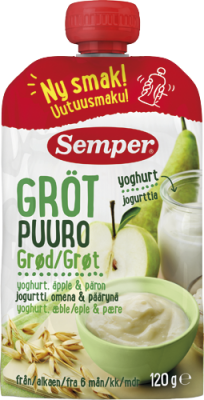 Semper babygrød med yoghurt, æble & pære